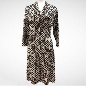 J. McLaughlin Black and Tan Print Faux Wrap Dress